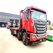 江淮四桥板车 格尔发350马力前四后八平板拖车 可承重36吨左右大型挖机