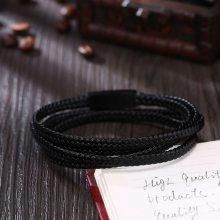 饰品源头工厂 速卖通首饰一件代发 皮手链 多层编织男士钛钢磁扣