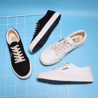 远步2018秋季新款休闲板鞋低帮男士帆布鞋简约纯黑色布鞋硫化男鞋
