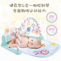 萌兔脚踏钢琴健身架婴儿玩具 宝宝早教故事游戏爬行垫带音乐灯光