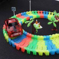 跨境电商百变拼装夜光轨道车 多功能弯道电动赛车积木益智DIY玩具