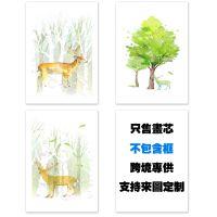 北欧现代简约手绘油画麋鹿树林无框装饰画画芯厂家定制打印挂画
