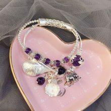 爱心吉象吊坠天然紫水晶石925纯银泰银DIY手链手镯手饰手工银饰品
