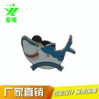 厂家直销金属徽章定制 锌合金烤漆徽章 卡通海豚儿童胸章免费设计