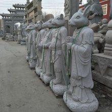 石雕厂家供应石雕十二生肖样式价格。石头人像式十二生肖动物雕刻。