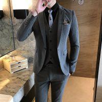 休闲西服套装定制 男士三件套青年帅气韩版修身西装新郎结婚礼服英伦风定制 单排一粒扣灰色西服定制