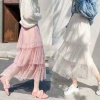哪里有便宜质量好的春款新品甜美蕾丝点缀松紧腰中长款半身裙百搭裙子
