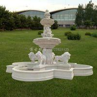 汉白玉石雕喷泉 欧式狮子喷泉雕塑 河北博古石雕厂家