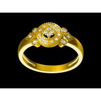 银镀金镶嵌水晶情侣戒指加工 满天星金戒指 —石英饰品定做厂家