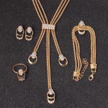 欧美流行饰品新款新娘项链耳环戒指手链四件套装镶钻多层饰品