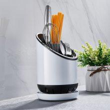 和地狼创意分格餐具置物架太空铝多功能刀具锅铲收纳盒筷子筒沥水