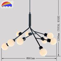 树技状铁艺室内吊灯9头G9LED37W球形玻璃乳白磨砂灯罩 出口灯具