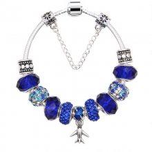 2019潘家新款镶钻时尚蓝色水晶珠串珠手镯速卖通个性飞机吊坠手链