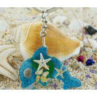 新款海洋馆纪念品礼品 海星贝壳海螺工艺品 海豚形 树脂钥匙扣
