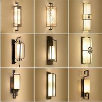 新中式壁灯简约客厅卧室床头灯现代仿古过道酒店背景LED墙壁灯具
