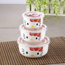 来图可定制 厂家直销陶瓷保鲜碗 陶瓷便当盒商务礼品