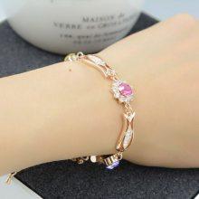 欧美外贸时尚流行 新款彩钻宝石手链手镯 镀真金首饰品批发