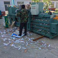 内蒙卧式秸秆液压打包机半自动废纸压包机图片卧式100打包机推料视频