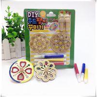 韩版创意原木白坯diy涂色陀螺儿童手工制作木质陀螺填色彩绘玩具