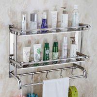 毛巾架不锈钢卫生间置物架卫浴五金挂件浴室厕所免打孔