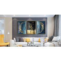 沙发背景墙装饰画 轻奢晶瓷画客厅现代简约三联画 入户玄关挂画