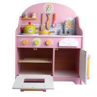 日式可爱粉色厨房 木制儿童过家家仿真早教益智厨房玩具