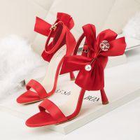 2525-3欧美性感露趾高跟鞋夜店显瘦珍珠凉鞋细跟蝴蝶结一字带凉鞋