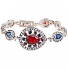 新款欧美复古水滴形红色玻璃宝石手链典雅气质女人饰品首饰批发