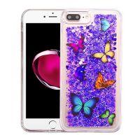 6PLUS紫色爱心蝴蝶TPU流沙壳手机外壳苹果三星华为OPPO彩绘流沙壳鹏海创意个性女款适用于 iP