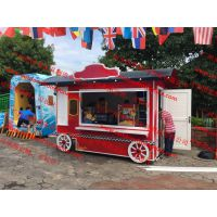欧式商场花车移动木质售卖摊车流动售货车售货亭餐饮售货车
