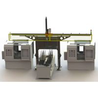 数控车床双联机一拖二桁架机械手,极具性价比和实用性的机床自动上下料机械手