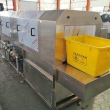供应广东鸡蛋筐塑料筐批量通过式喷淋清洗机,林泰高压水流冲洗风切设备
