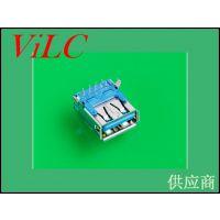 加长型USB3.0母头-板上插件后二弯脚DIP AF-翻边 威联创供应