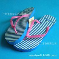 2018生产供应 新款高弹条纹出口韩国人字拖鞋