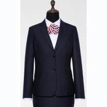 GY71206定制贵州职业装藏青色70%羊毛贡丝锦面料西装领平驳头两扣女西装