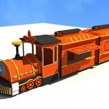 火车头移动售卖亭零售花车 蒸汽火车头怀旧老火车头样式零售花车