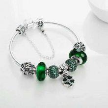 四叶草绿色成品手链 女纯银925祖母绿手镯 串珠串饰配件珠子 散珠