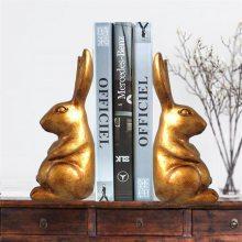 北欧复古创意树脂兔子书档桌面家居装饰书靠树脂工艺品小摆件厂家直销