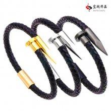 钉子手镯钛钢皮革皮绳手链不锈钢男士编织手链手工真皮手环钛钢