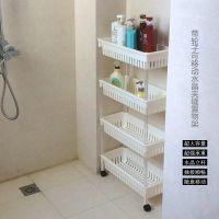 带轮置地式卫生间浴室置物架厕所洗手间落地塑料收纳架厨房储物架