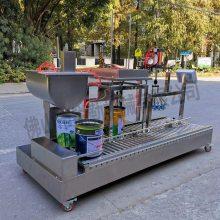 广东油漆自动灌装线 锐勒乳胶漆全自动灌装夹盖生产设备