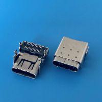 USB 3.1 TYPE-C板上垫高3.4双排贴片双壳母座/四脚插板带弹片/双贴