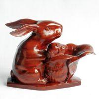 摆件T红木工艺品 红木兔子家居风水装饰摆件 生肖白菜母子兔 木雕