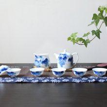 青花瓷公道杯陶瓷功夫茶具 功夫茶具小茶杯主人杯茶碗 订制logo