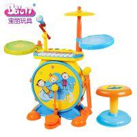 宝丽儿童架子鼓玩具1-3-6岁敲打乐器宝宝益智爵士鼓初学者男孩