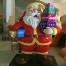 玻璃钢圣诞节雕塑圣诞老人造型玻璃钢雕塑厂家定做圣诞老人卡通雕塑摆件