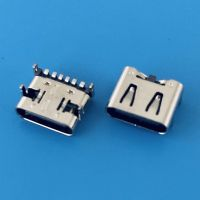 6PIN板上TYPE-C母座/前插后贴SMT/单充电C型充电口/带弹片/板上型