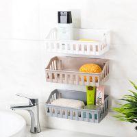 2619卫生间强力粘贴壁挂塑料免打孔墙上收纳架几何造型浴室置物架