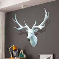 鹿头装饰壁挂招财北欧风格玄关墙面客厅餐厅挂饰欧式动物头黑白色