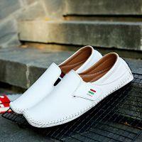 跨境***大码鞋豆豆鞋厂家直销手工缝线PU皮男鞋休闲鞋一脚蹬懒人
